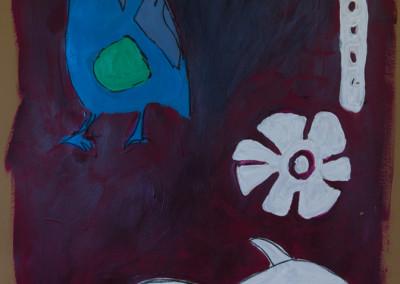 """Blue Bird. 30""""X20"""".  Acrylic on Paper."""