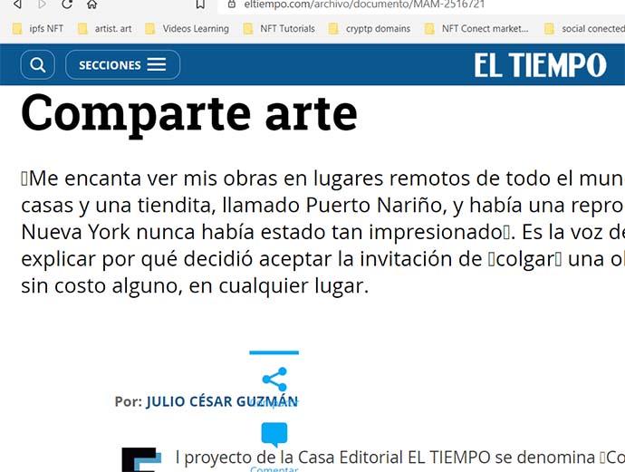 Comunicado de prensa:  Comparte arte