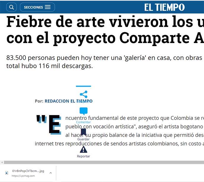 Comunicado de prensa:  Fiebre de arte vivieron los usuarios de eltiempo.com con el proyecto Comparte Arte